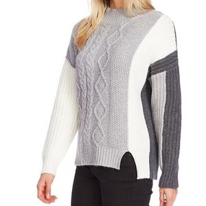 Vince Camuto Color-block Cable Knot Sweater XXL